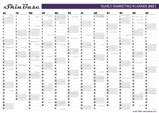 2021 marketing calendar